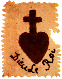 Sacred Heart symbol sewn on the garments of the counterrevolutionaries