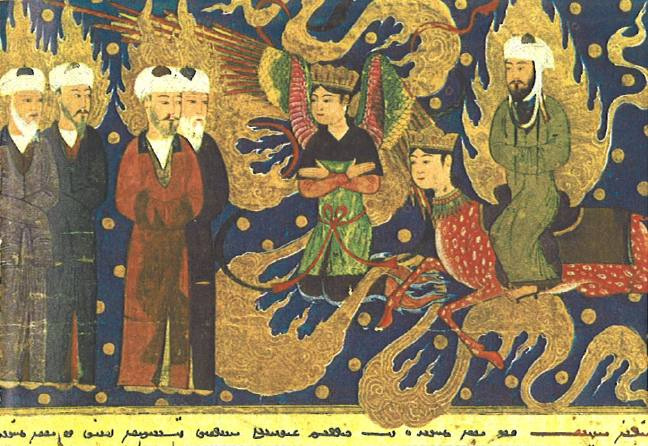 Muhammad (right) converses with Abraham (left) in Paradise [Persian, 15th century]